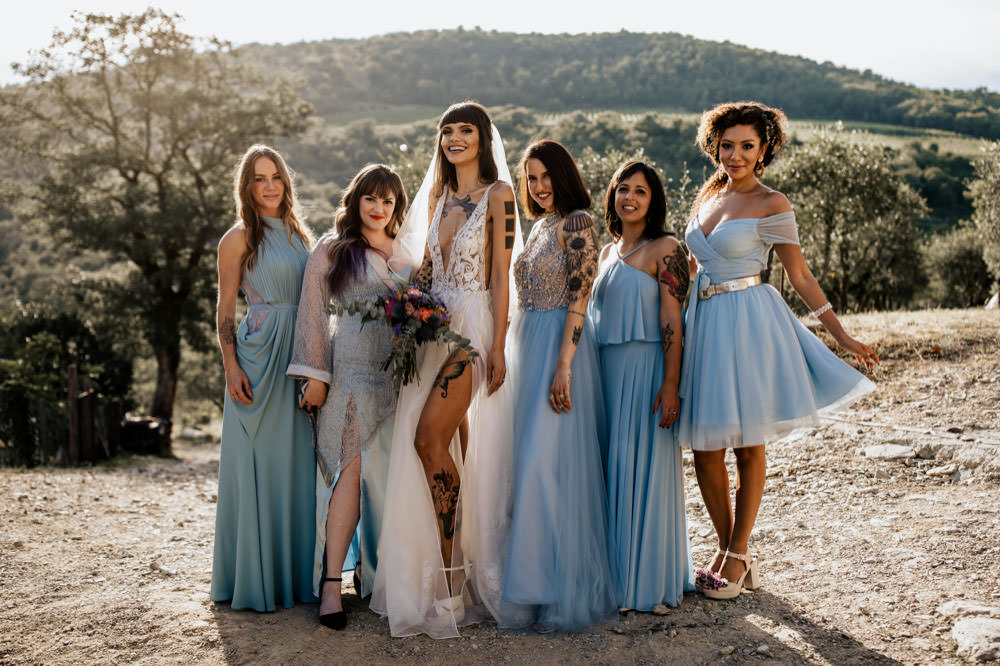 brides mades with stunning bride in Tuscany Italy